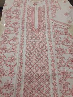 Lucknowi Chikankari Online Kurti Peach on White Cotton with very fine chikankari murri & shadow work with designer neckline & bootis on back