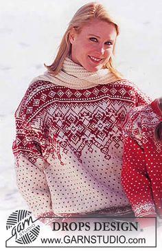 Fantasie Ravelry: Sweater with 2 neck alternatives in Karisma Superwash pattern by DROPS design Knitting Paterns, Fair Isle Knitting Patterns, Knit Patterns, Free Knitting, Drops Design, Fair Isle Pullover, Motif Fair Isle, Norwegian Knitting, Magazine Drops