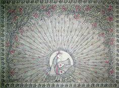 Madhubani paintings: Mayur- Line style ( artwork)- artworks for sale
