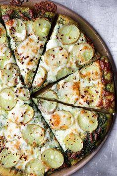 potato pizza with kale pesto