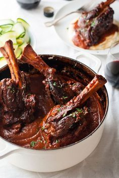 Slow Cooked Lamb Shanks with Red Wine Sauce Slow Cooked Lamb Shanks in Red Wine Sauce - a classic recipe, meltingly tender meat and a rich red wine based gravy. Easy to make in the oven, slow cooker or stove! Slow Cooker Recipes, Cooking Recipes, Cooking Tips, Baked Lamb Recipes, Meat Recipes, Free Recipes, Best Lamb Recipes, Lamb Chop Recipes, Slow Cooked Meals