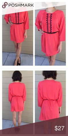 "3 LEFT! Orange dress Coral dress M- L: 36"" B: 40"" L- L: 36"" B: 42"" Materials- 65% cotton/ 35% polyester. This dress has no stretch to it. The front has a button closure. Belt included! Model is a S/4 and wearing a size S. Availability- M•L •2•1                                              ⭐️This item is brand new with manufacturers tags, boutique tags, or in original packaging. 🚫NO TRADES 💲Price is firm unless bundled 💰Ask about bundle discounts Dresses Long Sleeve"