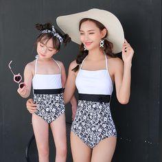 Black & white Full body swimsuit mother and daughter Full Body Swimsuit, Swimsuits, Bikinis, Swimwear, Mother Daughter Dresses Matching, Matching Outfits, Baby Kids, Black And White, Children