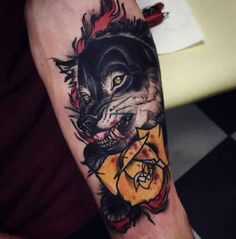Tattoo yellow Rose and Wolf  - http://tattootodesign.com/tattoo-yellow-rose-and-wolf/  |  #Tattoo, #Tattooed, #Tattoos
