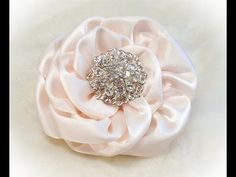 Kanzashi Flowers, Ribbon Rose, Tutorial, DIY, No Cuts, no Glue - YouTube....need to make these for my bouquet toss