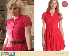 Kristina's red eyelet shirtdress on Parenthood. Outfit Details: http://wornontv.net/20439 #Parenthood #NBC