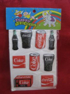 COCA COLA PUFFY STICKERS.  This 7 5/8 x 4 5/16 inch package contains 9 colorful Coca-Cola puffy stickers.  Some sticker…