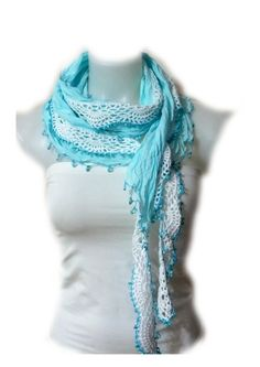 Cotton Lace scarf Crochet Lace scarf Crochet Lariat Scarf Crochet Necklace scarf…