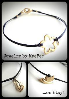 Gold Vermeil Bracelets on Black Linen from JewelryByMaeBee on Etsy.
