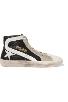 Golden Goose Deluxe Brand - Slide glittered distressed suede high-top  sneakers 0125a779f0