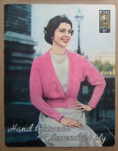 Vintage 40s 50s knitting pattern - womens cardigan with lacy edging trim - original pattern  Lavenda No. 342 Hand Knitwear in Lavenda 4 ply Published by Lister & Co., (UK) Undated but probably dating from late 1940s or early 1950s Dimensions of pattern approx. 7 1/4 x 9 1/2 or approx. 18.5 cm x 24 cm Printed on sturdy, good quality matt paper Advertisement for other Lister patterns on the back page  The instructions are provided in one size only - to fit a 34 - 36 bust Intended ...