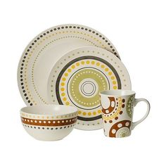 Rachael Ray Polka Dots 16 Piece Dinnerware Set ($48) ? liked on Polyvore featuring  sc 1 st  Pinterest & Rachael Ray Cucina Circles and Dots Dinnerware 12-Ounce Stoneware ...