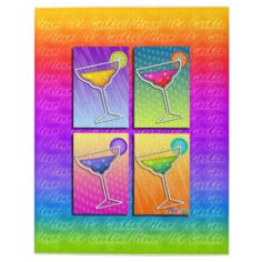 Four Pop Art MARGARITA GLASSES on Art, Office Products, Home Decor, Stationery, Kitchen Gear, Pet Products, Accessories & Electronics Cases.