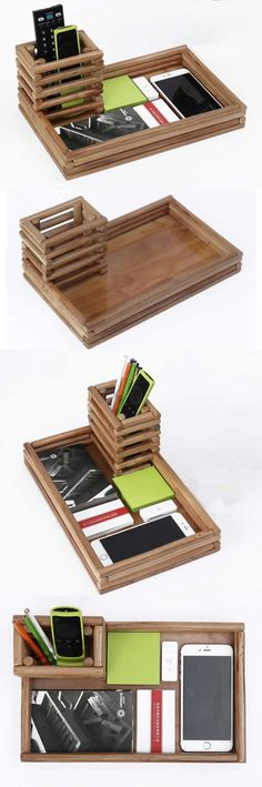 Bamboo Wooden iPhone Smart Phone Cell Phone Charger Charging Station Holder Eye Glasses Holder tray Pen Pencil Holder Stand Business Card Display Stand Holder Paper Clip Holder Collection Storage Box Organizer