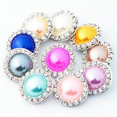 10PCS/Lot High Quality 18MM Imitation Pearl Metal snap buttons Mixed Color Rhinestone Snap Charm Jewelry Fit Bracelet&Bangle S17