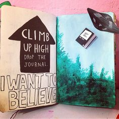 """Climb up high and drop the journal."" *X-Files theme plays in the background.* #wtj #wreckthisjournal #wreckthisjournalideas #illustration #artistsofinstagram #igart #journal #xfiles #aliens #iwanttobelieve #ufo"
