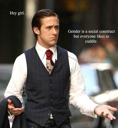 11 Awesome Examples Of Feminist Ryan Gosling  Hey girl, Ryan wants you to understand that he gets the pressures society puts on you as a woman. And he's here for you.