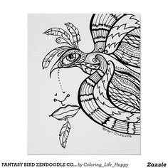 FANTASY BIRD ZENDOODLE COLOR IT YOURSELF POSTER, 1 POSTER