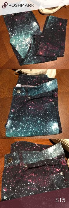 Galaxy pants Worn once. It is size 26 but h&m does run small. It'll fit size 0-1 Pants