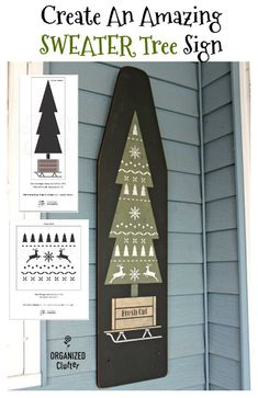 Create An AMAZING SWEATER TREE Sign On A Vintage Ironing Board #oldsignstencils