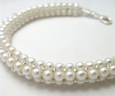 White Pearl Rope - Tubular Herringbone Bead Weaving