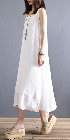 Art white linen clothes For Women sleeveless Plus Size summer DressCustom make service available! Please feel free to contact us if you want this dress custom made. Materials used:linen Measurement: One size fits all f Floral Plus Size Dresses, Plus Size Summer Dresses, Summer Dress Outfits, Casual Summer Dresses, Dress Summer, Wedding Dress, Linen Dresses, Women's Fashion Dresses, Clothes For Women