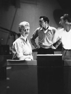 Doris Day, Frank Sinatra, and Ray Heindorf recording for Young at Heart, 1954