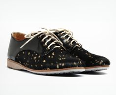 Rollie Nation - Derby Black Leather/Cow Print, $149.95 (http://shop.rollienation.com/derby-black-leather-cow-print/)