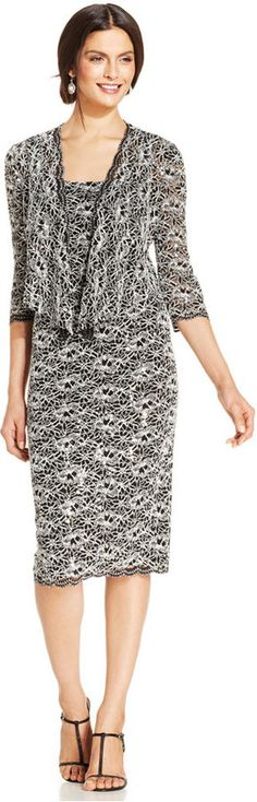 Alex Evenings Crochet Sequin-Lace Dress and Jacket  Was: 179.00$ Now: 119.99$