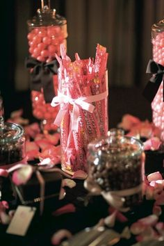 pink & brown candy table