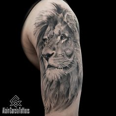 Lion tattoo. Black and Grey Realism tattoo Artist in Sydney, NSW, Australia. #liontattoo #lionportrait #animaltattoo #sydneytattooartist #sydney #blackandgrey