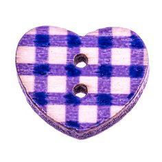 Bouton Coeur Vichy Violet Bois
