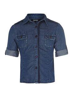 DKNY Denim Tailored Long Sleeve Shirt