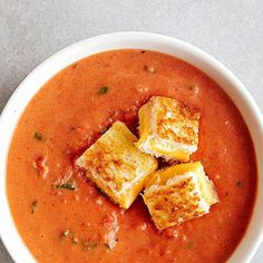 Fresh Tomato Soup with grilled cheese croutons.