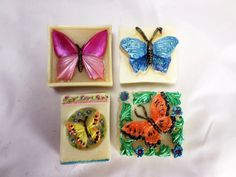 Butterfly Soap Set with Butterflies and Flowers Mug Soap Making Process, Cold Process Soap, Homemade Soap Recipes, Home Made Soap, Butterflies, Hand Painted, Soaps, Mugs, Flowers