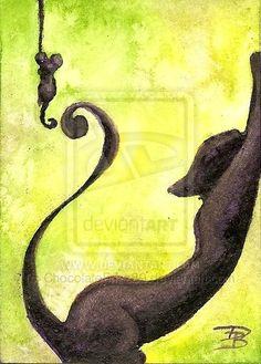 Black Kitteh stretching #CatArt