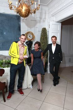 Laura Slatkin, creator of the NEST Fine Fragrances Collection and Founder and CEO of NEST Fragrances, with master perfumers Christophe Laudamiel, left, and Jerome Epinette, right, at a Press Event at her townhouse in New York City.