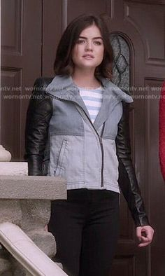 Aria's denim colorblock jacket with leather sleeves and blue striped cold shoulder top on Pretty Little Liars.  Outfit Details: http://wornontv.net/50595/ #PLL