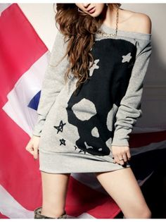Long Sleeve Skull Head Print Grey Cotton Sweatshirt