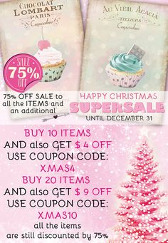 ♥♥ ADDITIONAL SUPER SALE FOR CELEBRATING CHRISTMAS UNTIL DECEMBER 31th ♥♥ ♥♥ ALL THE ITEMS ON THE SHOP ARE STILL DISCOUNTED BY 75% ♥♥  ♥ BUY 10 ITEMS and also get $ 4.00 OFF - USE COUPON CODE at checkout: XMAS4 ♥ BUY 20 ITEMS and also get $ 9.00 OFF - USE COUPON CODE at checkou: XMAS10  ♥♥ YOU NEED TO APPLY THE COUPON CODE DURING THE CHECKOUT ♥♥ Please read this helpful article on how to use coupon codes: http://www.etsy.com/help/article/350  ♥♥ ♥♥ ♥♥ ♥♥ ♥♥ ♥♥ ♥♥ ♥♥ ...