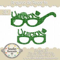 Glasses 3D St. Patrick´s Day, Óculos 3d Dia de São Patrício, Cartola, Chapéu, Topper, Hat, Ferradura, Horseshoe, Dia de São Patrício, Trevos, Shamrocks, St.Patricks Day, Irlanda, Ireland, Party, Festa, Irish, Irlandês, Feriado, Holiday, Sorte, Lucky, 3D Models, 3D, Modelo 3D, Projeto 3D, Silhouette, DXF, SVG, PNG