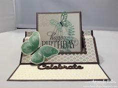 The Craft Spa - Stampin' Up! UK independent demonstrator - Order Stampin Up in UK: Fancy Fold Friday - Tutorial for Swing Easel Card Fancy Fold Cards, Folded Cards, Pop Up Cards, Xmas Cards, Best Wishes Card, Step Cards, Shaped Cards, Easel Cards, Creative Cards