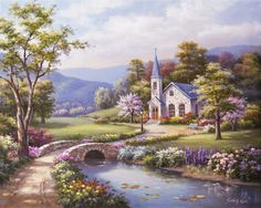 Spring Chapel - Counted cross stitch pattern in PDF format by Maxispatterns on Etsy Beach Landscape, Landscape Art, Landscape Paintings, Watercolor Paintings, Beautiful Paintings, Beautiful Landscapes, Belle Image Nature, Thomas Kinkade Art, Kinkade Paintings