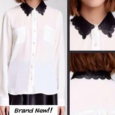 Brand new blouse w laser cut leather like collar BNWT! Nice closet cure to pair w jeans, slacks or a skirt! For the office, or a date night! This is a size medium! Blu Pepper Tops Blouses