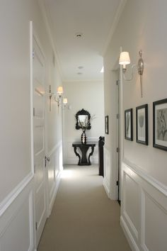7 Creative and Modern Tricks Can Change Your Life: Wainscoting Wallpaper Powder faux wainscoting hallway.Wainscoting Basement Pictures picture frame wainscoting home. Foyer Decorating, House Design, Hall Design, Dining Room Wainscoting, Wainscoting Bedroom, Hallway Designs, Home Decor, Wainscoting Panels, Wainscoting Styles