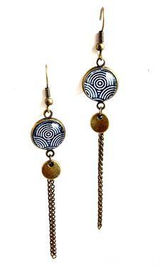 Boucles d'oreilles dormeuses bronze - cabochon * Vagues Chaînette et sequin bronze