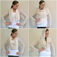 Refashion Sewing Tutorial: Clearance scarves sewn into French-style convertible cardigan from Trash To Couture blog (21 Nov 2011)