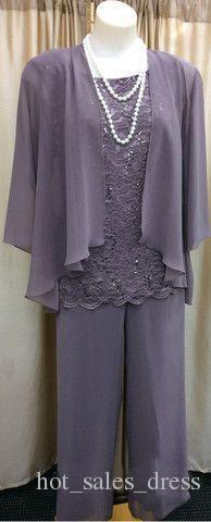 Pantalones 100% de la muestra verdadera de la nueva manera 2015 de tres piezas de encaje de gasa de la Madre juego púrpura largo Madre de la novia del vestido del banquete de boda