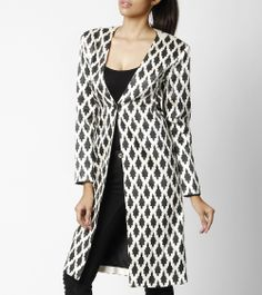 Black and white monotone long #jacket has a one button clousre