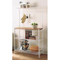 InterMetro® Baker's Rack... These are pretty customizable. Would rather the chrome with deeper shelves.